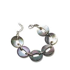 """Stately Steel Mother-of-Pearl Disc 7-1/4"""" Bracelet"""