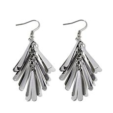 Stately Steel Multi-Linear Fan-Shaped Drop Earrings