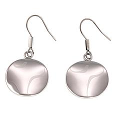 Stately Steel Polished Freeform Drop Earrings
