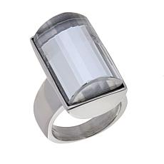 Stately Steel Rectangular Crystal Ring