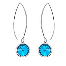 Stately Steel Round Stone Drop Earrings