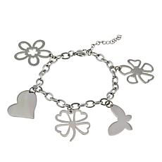 Stately Steel Stainless Steel Heart and Butterfly Dangle Bracelet