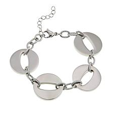 Stately Steel Stainless Steel Open Circle Link Bracelet