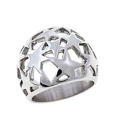Stately Steel Star Cut-Out Ring