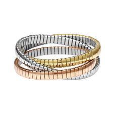 Stately Steel Tri-Color Thin Interwoven Stretch Bangle Bracelet