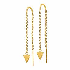 Stately Steel Triangle Dangle Threader Earrings