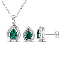 Sterling Created Emerald & White Sapphire Teardrop Pendant & Earrings