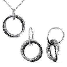 Sterling Silver 0.10ctw Diamond Entwined Earrings and Pendant Set