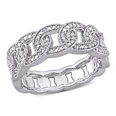 Sterling Silver 0.10ctw Diamond Link Ring