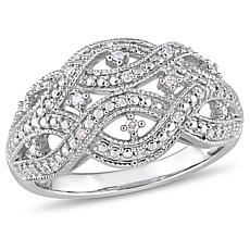 Sterling Silver 0.12ctw Diamond Infinity Ring