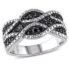 Sterling Silver 0.25ctw Black Diamond Double Twist Ring