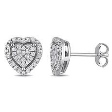 Sterling Silver 0.30ctw Diamond Cluster Halo Heart Earrings