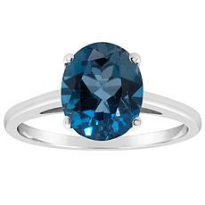 Sterling Silver 10x8mm Oval-Cut London Blue Topaz Ring