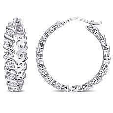 Sterling Silver 1.20ctw Moissanite Wave Hoop Earrings