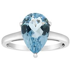 Sterling Silver 12x8mm Pear-Shaped Gemstone Ring