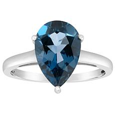 Sterling Silver 12x8mm Pear-Shaped London Blue Topaz Ring