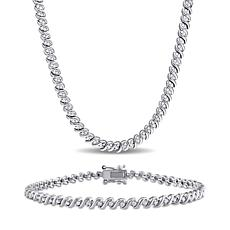 Sterling Silver 1.50 ctw Diamond S-Link Tennis Necklace and Bracelet