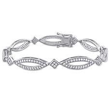 Sterling Silver 1.96ctw Diamond Geometric Link Bracelet
