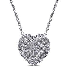 Sterling Silver 1ct Diamond Pavé Heart Drop Necklace
