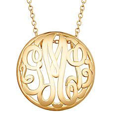Sterling Silver 28x28mm Round Monogram Pendant Necklace