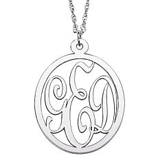 Sterling Silver 3-Initial Monogram Pendant & Chain
