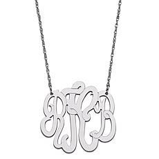 Sterling Silver 3-Initial Script Monogram Necklace - Medium