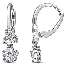 Sterling Silver .32ctw Diamond Floral Leverback Drop Earrings