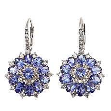 Sterling Silver 6.24ctw Zircon and Tanzanite Drop Earrings
