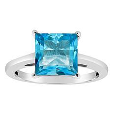 Sterling Silver 8mm Princess-Cut Gemstone Ring
