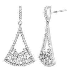 Sterling Silver Absolute™ 1.39ctw Cubic Zirconia Fan Drop Earrings
