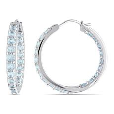 Sterling Silver Aquamarine Inside-Outside Hoop Earrings