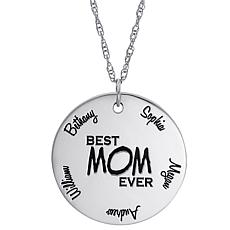 "Sterling Silver ""Best Mom Ever"" Engraved Name Disc Pendant with Chain"