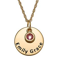 Sterling Silver Birthstone Crystal Engraved Name Disc Necklace