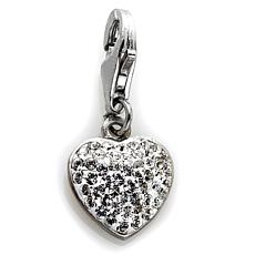 Sterling Silver Clear Crystal Heart Dangle Charm