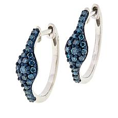Sterling Silver Colored Diamond Pear Middle Hoop Earrings