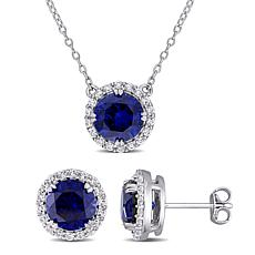 Sterling Silver Created Blue & White Sapphire Halo Necklace & Earrings