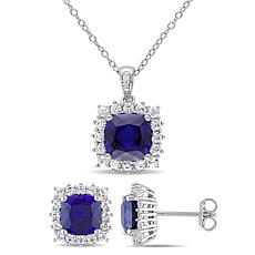 Sterling Silver Created Sapphire Diamond Accent Pendant and Earrings