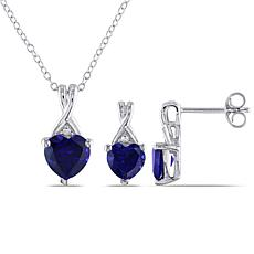 Sterling Silver Created Sapphire Heart Earrings, Pendant and Chain Set
