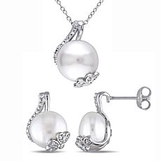 Sterling Silver Cultured Pearl and Diamond Twist Earrings and Pendant