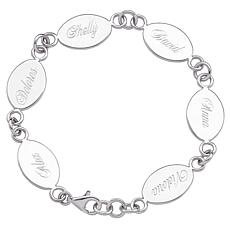 Sterling Silver Engravable Oval Family Name Bracelet