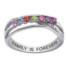 Sterling Silver Family  Crystal Crossover Band Ring