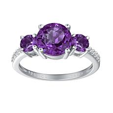 Sterling Silver Gemstone 3-Stone Round-Cut Engagement Ring