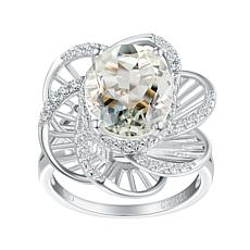 Sterling Silver Gemstone and White Topaz Oval Stone Floral Ring