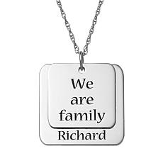 Sterling Silver Layered Family Name Double-Square Pendant with Chain