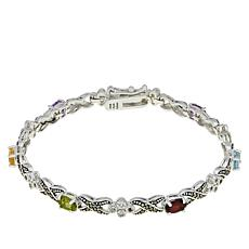 "Sterling Silver Marcasite and Multi-Gemstone ""XO"" Bracelet"