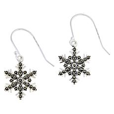 "Sterling Silver Marcasite ""Snowflake"" Drop Earrings"