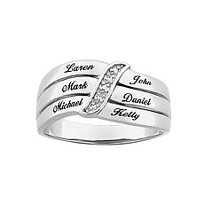 Sterling Silver Mothers Diamond-Accent Name Ring