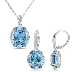 Sterling Silver Multi-Color Blue and White Topaz Pendant and Earrings