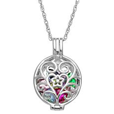 Sterling Silver Oval Filigree Locket Birthstone Pendant with Chain