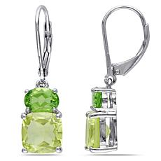 Sterling Silver Peridot and Lemon Quartz Leverback Earrings